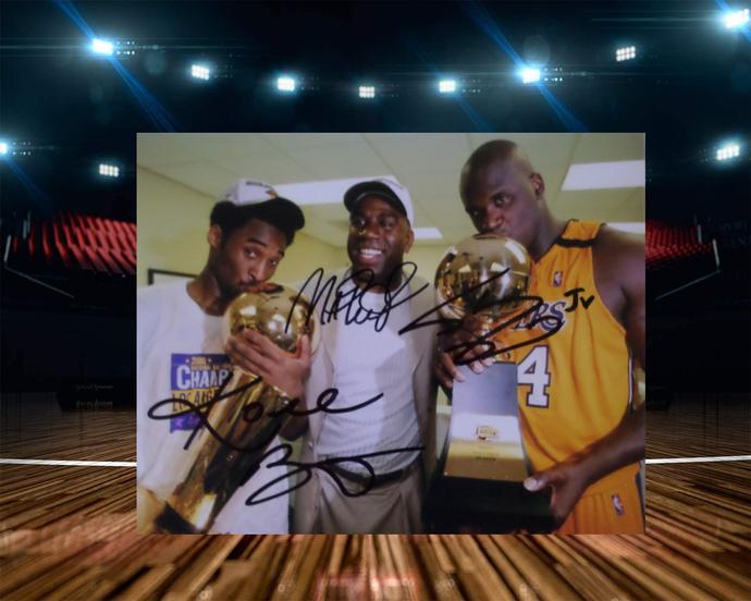 Kobe Bryant Magic Johnson and Shaquille O'Neal 8 x 10 signed photo