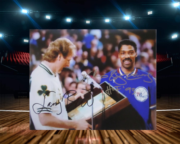 Larry Bird and Julius Erving 8 by 10 signed photo