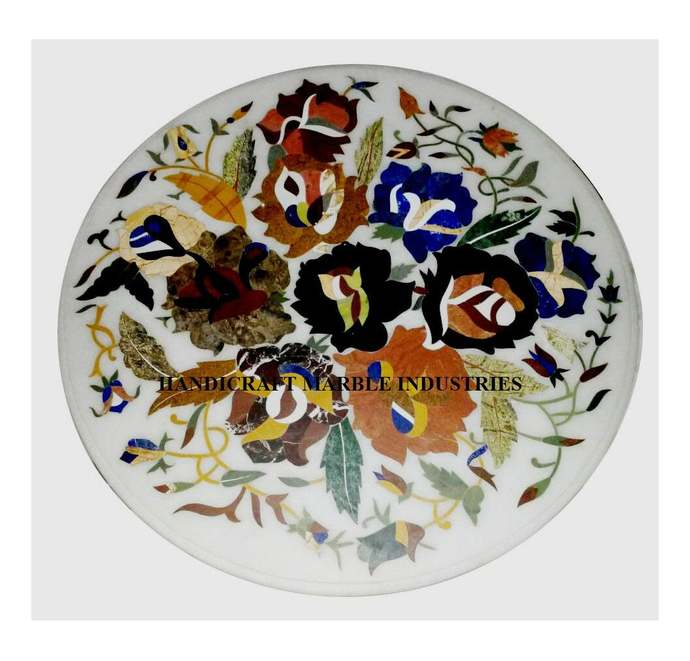 """24"""" X 24"""" Inch Marble Inlay Table Multi Colour Foral Pietra Dura Marquetry"""