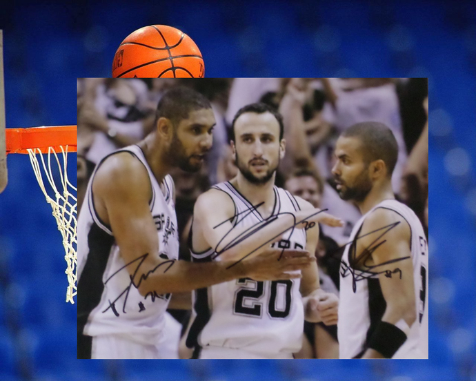 Tony Parker Manu Ginobili and Tim Duncan 8 by 10 signed photo
