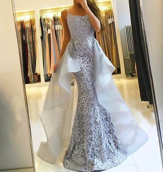 silver gray evening dresses long detachable skirt elegant lace applique