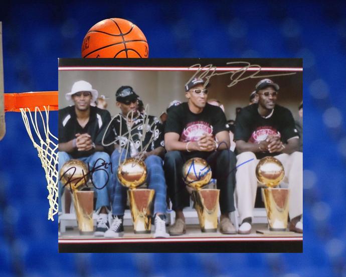 Michael Jordan Dennis Rodman Scottie Pippen Ron Harper 8 by 10 signed photo
