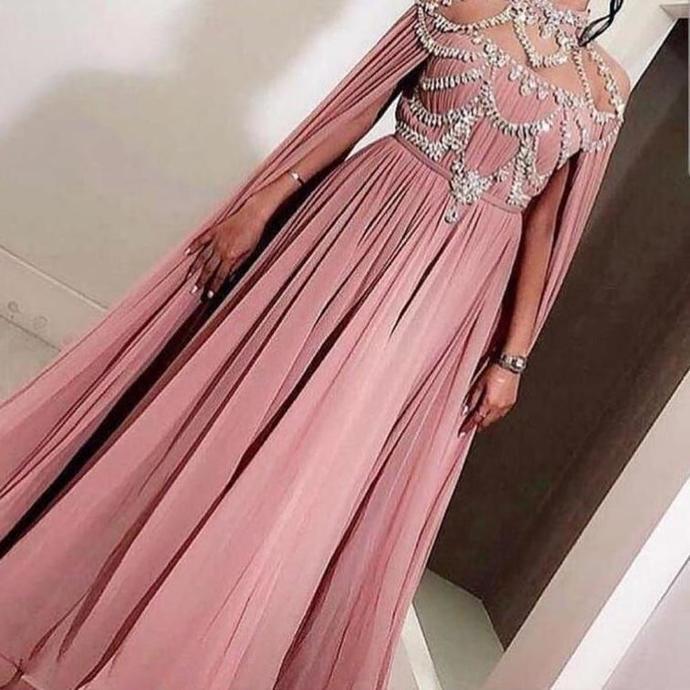 dusty pink prom dresses high neck beaded crystal dubai caftan elegant chiffon