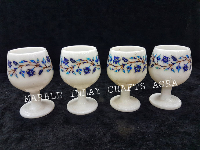 SET of 4 PCS. Handcrafted Marble Wine Glasses/Goblets Stones Inlay Lapizlazuli