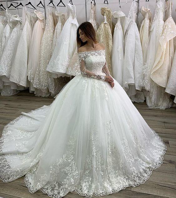 white lace wedding dresses boho applique elegant princess boat neck long sleeve