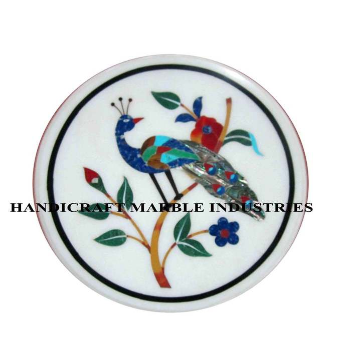"""15"""" X 15"""" Inch Marble Inlay Table Multi Colour Peacock and Floral Pietra Dura"""