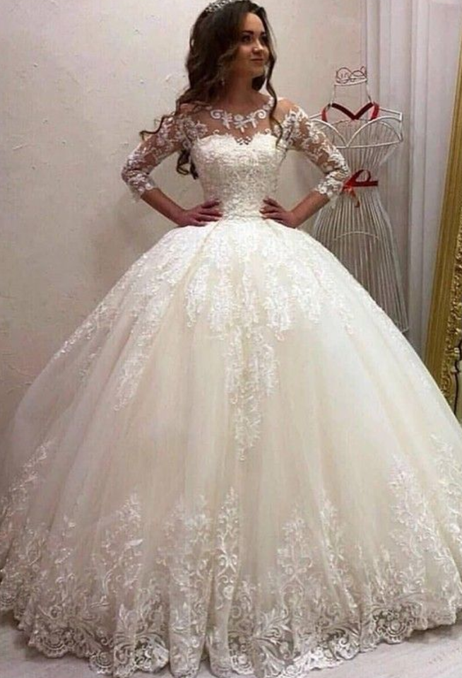 Princess Ball Gown Wedding Dress Sweetheart Scoop 3 4 Sleeve Ivory Lace Tulle