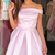 off the shoulder short pink party dress homecoming dress