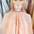 long prom dress formal dress with pink lace appliques
