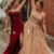 gold&wine red long prom dresses