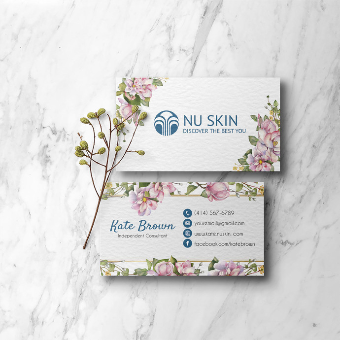 Floral Business Cards, Personalized Nu Skin Business Cards NS06