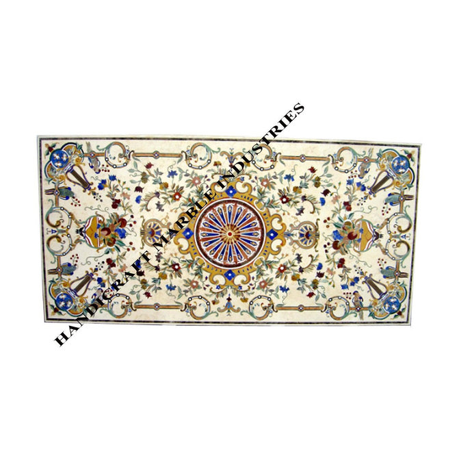 Marble Inlay Dining Table Pietra Dura Style
