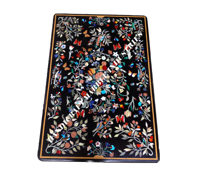Black Marble Dining Table Top Birds, Butterflies, Fruits and Flowers Marquetry