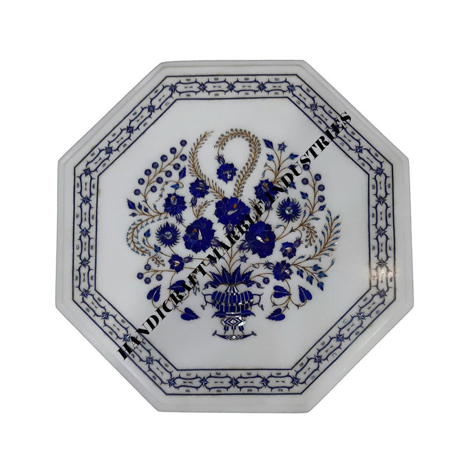 Octagon Marble Table Top Lapis Lazuli Inlay Tree Of Life, Living Room Furniture