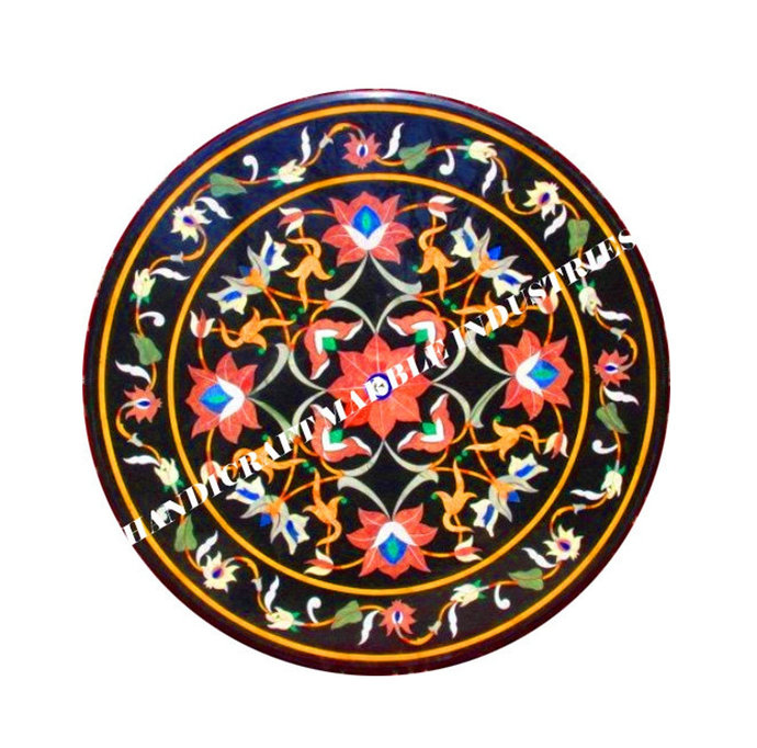 """36"""" X 36"""" inch Marble Dining Table Pietra Dura Inlay Floral Marquetry Design"""