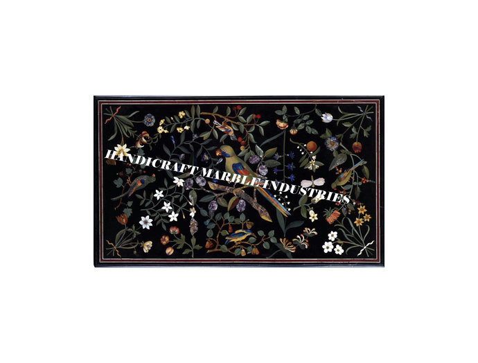 4 x 2 Feet Marble Dining Table Floral Marquetry Pietra Dura Inlay Design, Birds