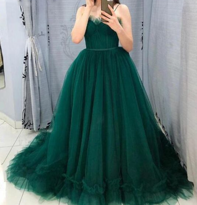 Gorgeous Ball Gown Tulle Emerald Green Prom Evening Dress ,Women Formal Dress