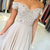 Elegant Champagne Chiffon Long Prom Dresses With Lace,Beaded Applique Off
