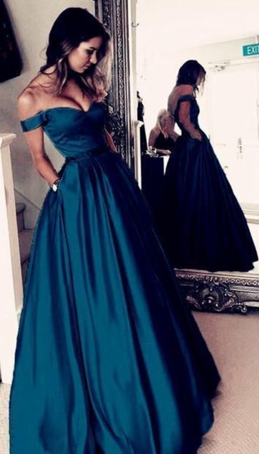 Off the Shoulder A-line Long Prom Dress Custom-made School Dance Dress Fashion