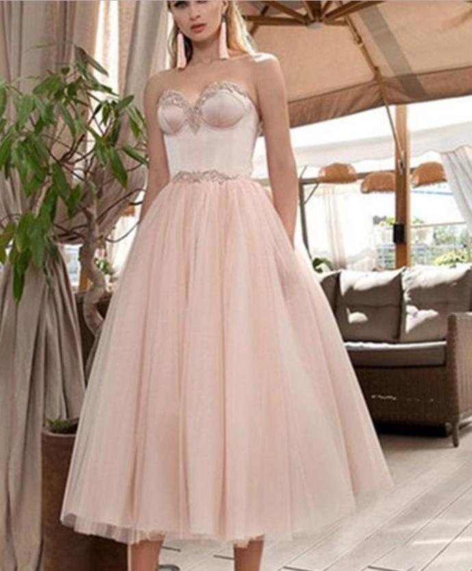 Blush Pink Teal Length Wedding Party Dress ,Evening Dance Dress For Ball