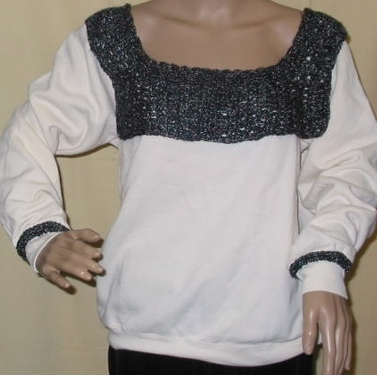 Sweatshirt with Pizazz - Trimmed with Hand Knit Collar
