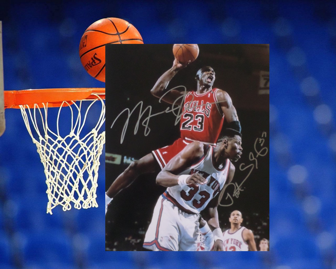 Michael Jordan and Patrick Ewing 8 by 10 signed photo