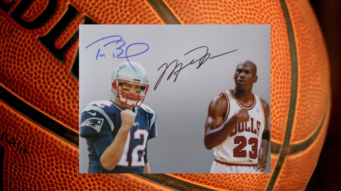 Tom Brady and Michael Jordan 8 by 10 signed photo