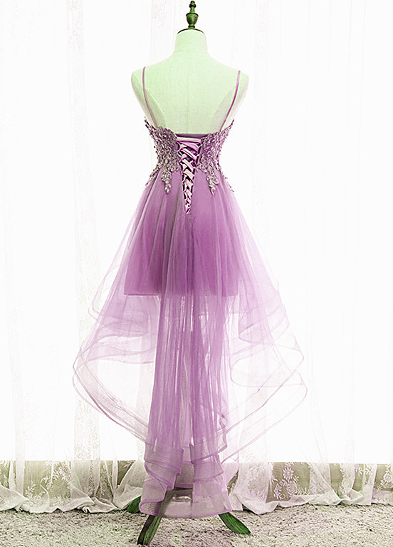 Fashionable High Low Tulle Homecoming Dress, Straps Short Prom Dress