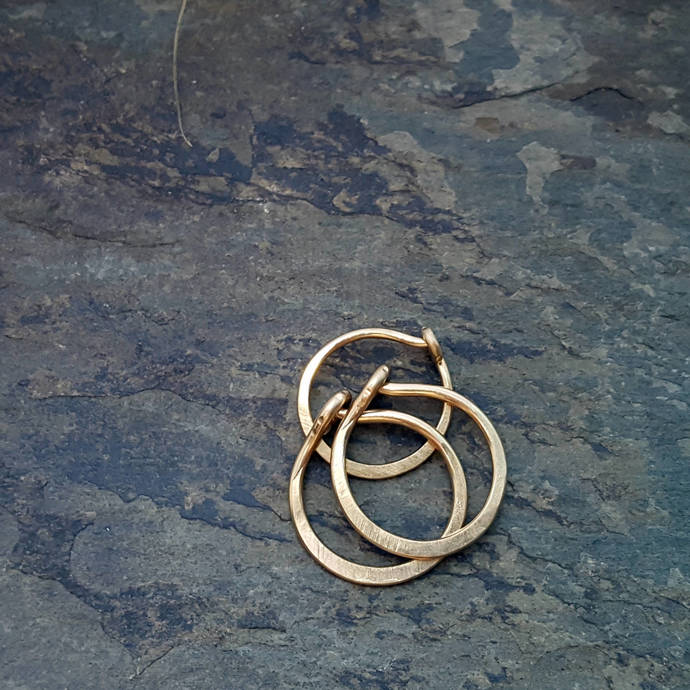 18g satin hoops-- hammered nose ring or cartilage single earring--  custom