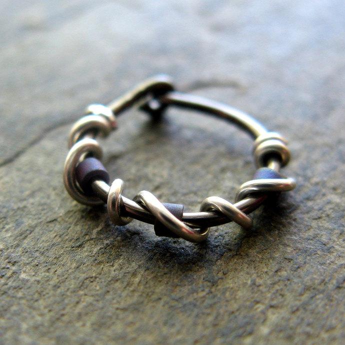 beaded vine single-- custom hoop earring or nose ring-- primitive series--