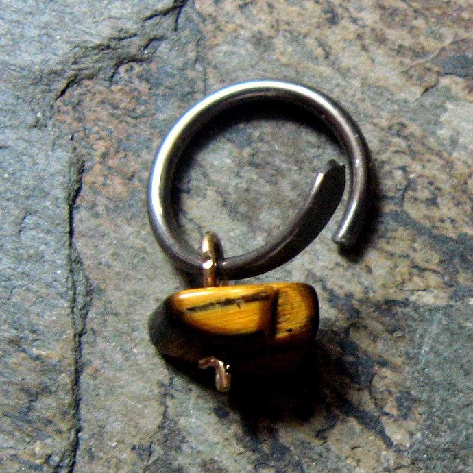 16g begemmed hoop-- custom single earring or nose ring-- primitive series--