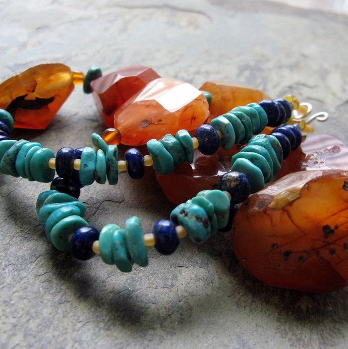 civilization-- beaded gemstone necklace-- handmade by thebeadedlily