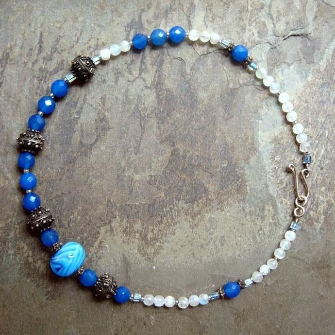 choker necklace, choker, blue wedding statement necklace, blue white choker,
