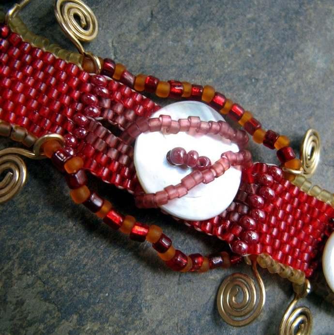sabatini-- red beadwoven bracelet-- handmade by thebeadedlily