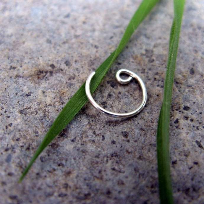 22g catchless nose ring-- sterling silver, niobium or gold fill-- primitive