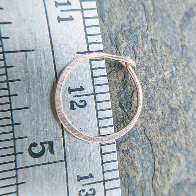 22g satin hoops-- hammered nose rings or cartilage earrings--  custom hammered