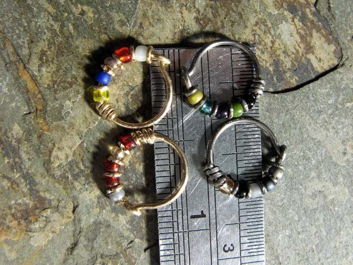 batman hoop-- superhero nose ring or hoop earring-- handmade by thebeadedlily