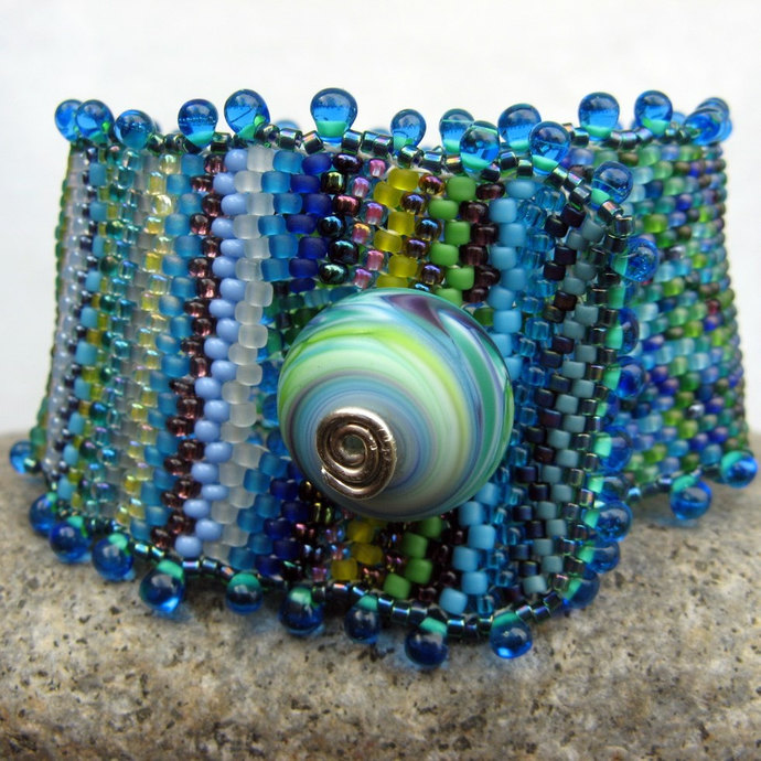 monet's waterlilies, beadwoven cuff bracelet in blue and green-- one of a kind
