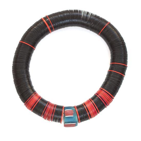 Sophisticated black & red vulcanite bracelet with blue vintage African trade