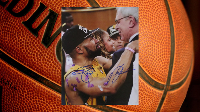 Derek Fisher and Phil Jackson Los Angeles Lakers 8 by 10 signed photo
