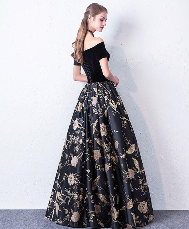 Black Off Shoulder Long Pretty Party Dress, Black Prom Dress 2020