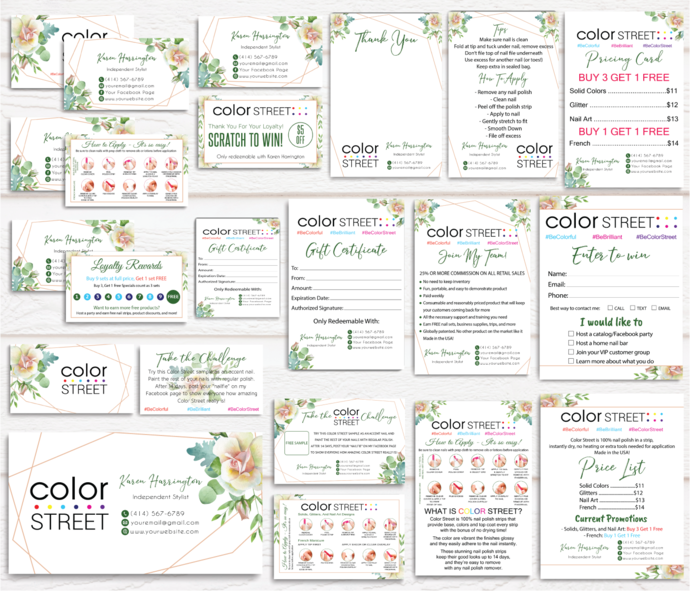 Green Floral Color Street Marketing Bundle, Personalized Color Street Cards CL49