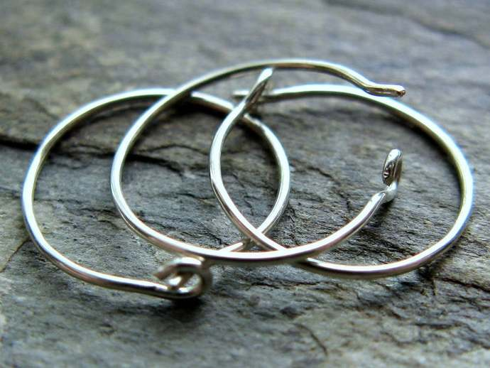 26g nose ring, oval slim profile close fit thin nose ring, sterling silver or