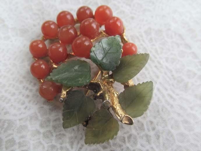 Swoboda signed vintage Berry brooch w genuine jade and carnelian stones