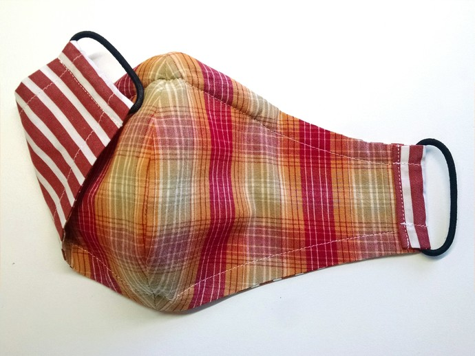 Face Mask - Reversible (Red & Orange Plaid with Red & White Stripe)