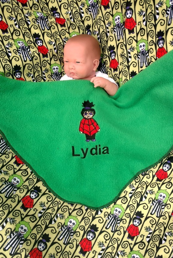 Beetlejuice Lydia Baby blanket - Personalized name - Unique Tim Burton baby