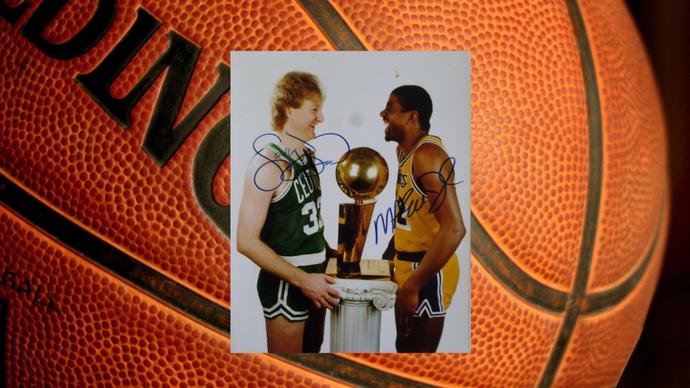 Larry Bird and Magic Johnson 8 x 10 signed photo