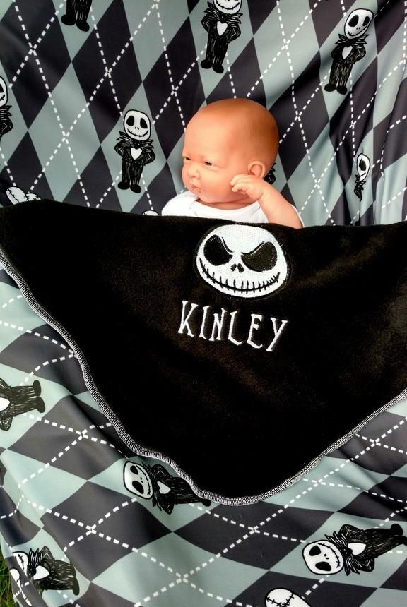 Jack Skellington Baby blanket - Personalized name - Unique Tim Burton baby