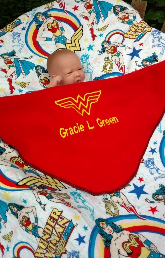 Wonder Woman Baby blanket - Personalized name - Unique Girl Super Hero baby