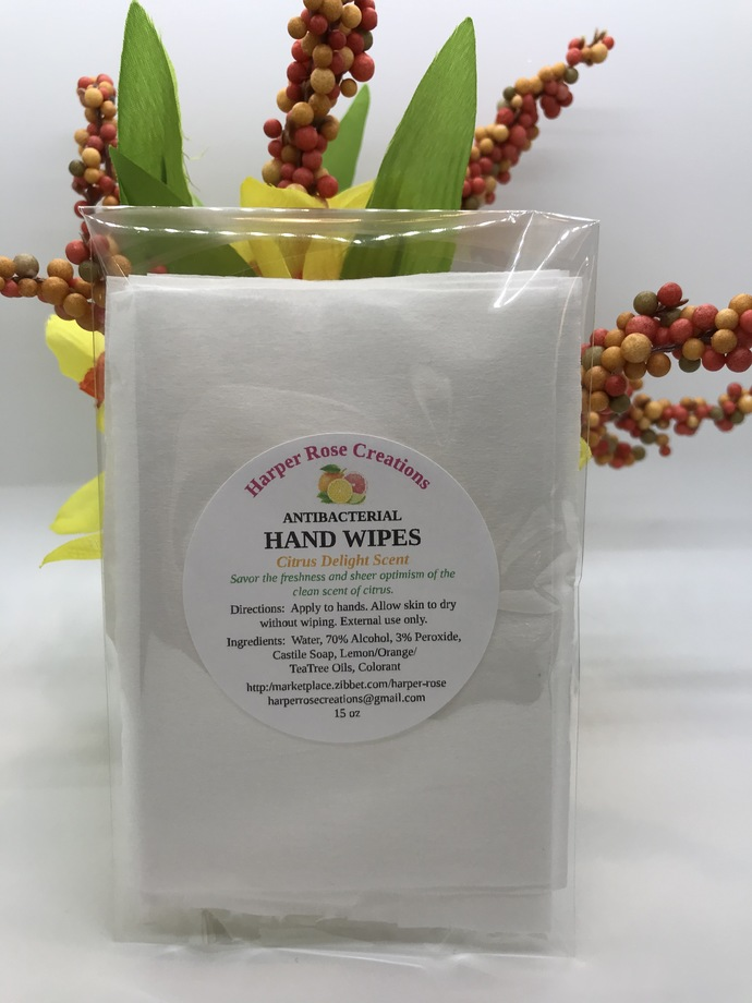 HAND WIPES, Citrus Delight, Antibacterial, Natural, Pack of 10, Homemade, Free